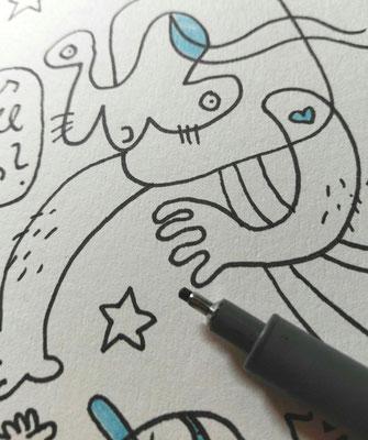 Detail des Motives Treuebonus – Tuschestift auf Papier