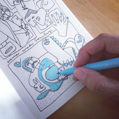 Skizzenbuch Seite Meerjungfrau am Sonntag, Zeichnung mit Tusche auf Papier von Frank Schulz Art, zeigt einen Wal, einen Hasen und einen Mann
