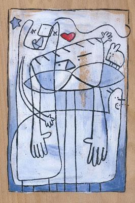 FAMILIE mit Mann Frau Katze und Herz, Acryl auf Holz © Frank Schulz 2017