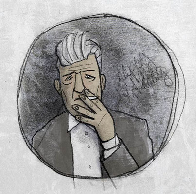 David Lynch, Digital kolorierte Zeichnung von Frank Schulz Art