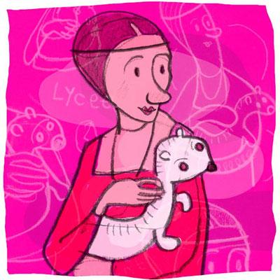 Dame mit dem Hermelin, Tusche Zeichnung Frau vor Pink mit weißem Hermelin von Frank Schulz Art, Meisterwerk Reloaded nach Da Vinci