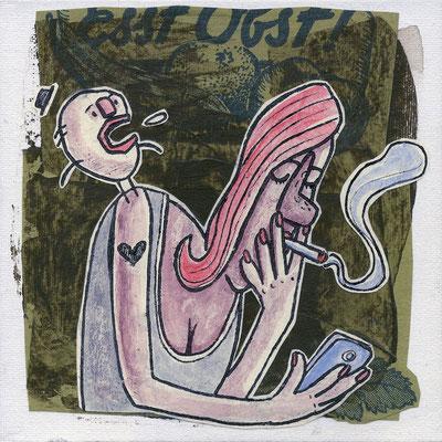 Rauchende mit Smartphone | Zeichnung in Acryltechnik auf Leinwand