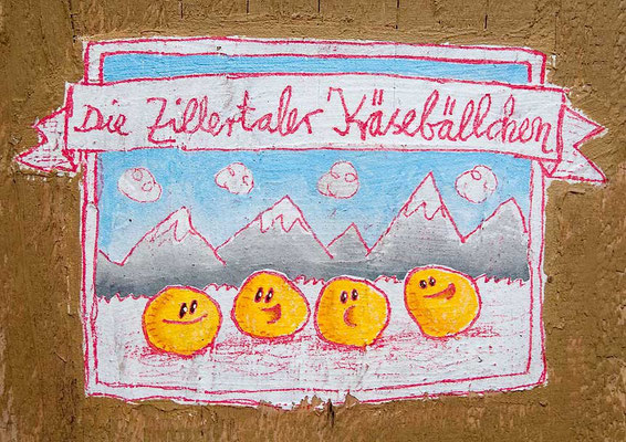 DIE ZILLERTALER KÄSEBÄLLCHEN, Acryl auf Holz, 24 x 18 cm