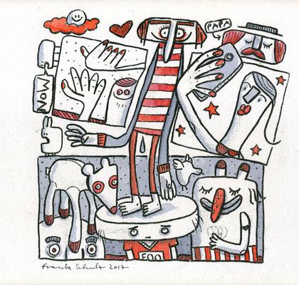 NOW (Kreaturen auf Rot), Zeichnung und Aquarell auf Papier von Frank Schulz Art