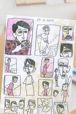 Sylvia von Harden, Bleistiftskizzen Frau an Bartisch vor pink von Frank Schulz Art, Meisterwerk Reloaded nach Otto Dix