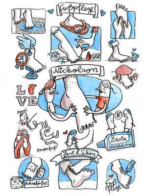 Zeichnung mit Aquarell von Frank Schulz Art für ein Fußpflege-Unternehmen, mit Pediküre und Zärtlichkeit und Liebe.