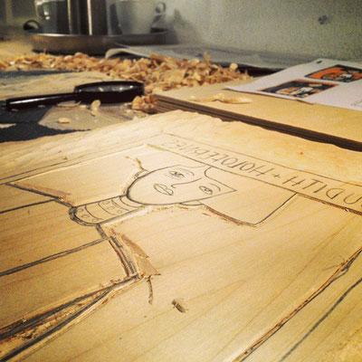 Frank Schulz Art in der Druckwerkstatt, Holzschnitt Making Of Dokumentation