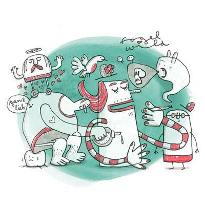 Illustration Gefühlswelt, Zeichnung mit Tusche auf Papier und digitaler Farbe von Frank Schulz Art, zeigt Fantasie Figuren im Gewimmel