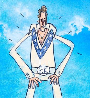 Evel Kneevel, Digital kolorierte Zeichnung von Frank Schulz Art