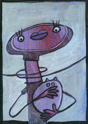 Dame mit dem Hermelin, Acryl Zeichnung Frau mit weißem Hermelin von Frank Schulz Art, Meisterwerk Reloaded nach Da Vinci