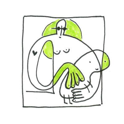 Dame mit dem Hermelin, Zeichnung Frau mit weißem Hermelin von Frank Schulz Art, Meisterwerk Reloaded nach Da Vinci