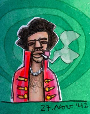 Jimmy Hendrix vor grünem Hintergrund, Digital kolorierte Zeichnung von Frank Schulz Art