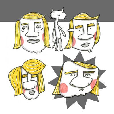 Illustration Mann mit Retro Frisur, Zeichnung mit Tusche auf Papier und digitaler Farbe von Frank Schulz Art, zeigt Männer mit dicker Nase und eine Katze