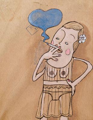 Lasziv Rauchende im Negligé | Zeichnung in Acryltechnik auf Zigarrenkiste