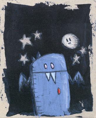 KLEINER BLUTSAUGER, blaue Fledermaus mit Mond vor Schwarz, Acryl auf Pappe © Frank Schulz 2013