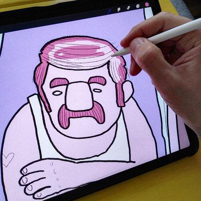 Illustration eines Mannes (Manni!) im Unterhemd, gemütlich am offenen Fenster lehnend - Kolorierung in Procreate von Frank Schulz Art
