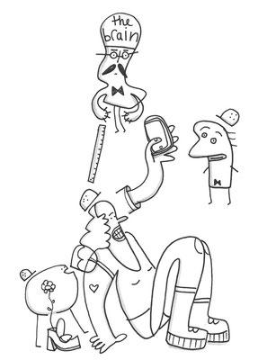 """Bearbeiteter Scan der Zeichnung """"Figuren mit Bauhelmen"""" von Frank Schulz Art, Berlin"""