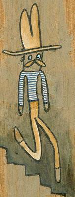 MAN AUF TREPPE, Dünner Mann mit Schnurrbart und Hut auf Treppe, Acryl auf Holz © Frank Schulz 2013