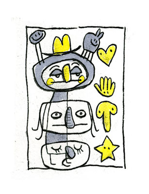 EIN SPIEL (Kreaturen in Grau Gelb), Zeichnung und Aquarell auf Papier von Frank Schulz Art