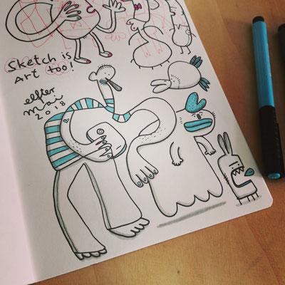 Skizzenbuch Seite Vier Freunde, Zeichnung mit Tusche zeigt Fantasie Figuren mit Smartphone