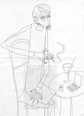 Sylvia von Harden, Zeichnung Frau an Bartisch von Frank Schulz Art, Meisterwerk Reloaded nach Otto Dix
