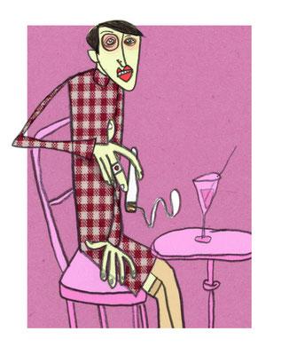 Sylvia von Harden, Tuschezeichnung Frau an Bartisch vor pink von Frank Schulz Art, Meisterwerk Reloaded nach Otto Dix