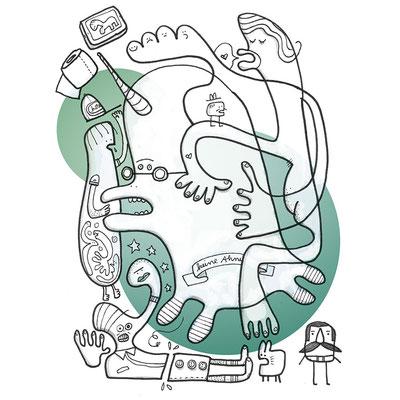 Jugendfreie Version der Zeichnung eines Einhorns und anderer Figuren im Durcheinander, digital koloriert