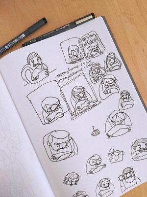 Skizzen eines Mannes (Manni!) im Unterhemd, gemütlich am offenen Fenster lehnend - Skizzenbuch von Frank Schulz Art