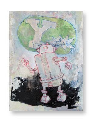 YPS MIT GIMMICK, Acryl auf Holz, 20 x 15 cm