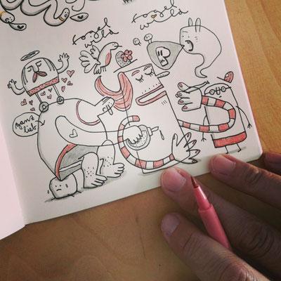 Skizzenbuch Seite Gefühlswelt, Zeichnung mit Tusche auf Papier von Frank Schulz Art, zeigt Fantasie Figuren im Gewimmel