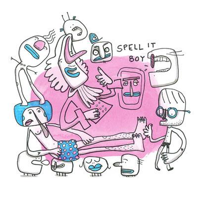 Illustration, Kreaturen auf pink, Zeichnung mit Tusche und Aquarell von Frank Schulz Art