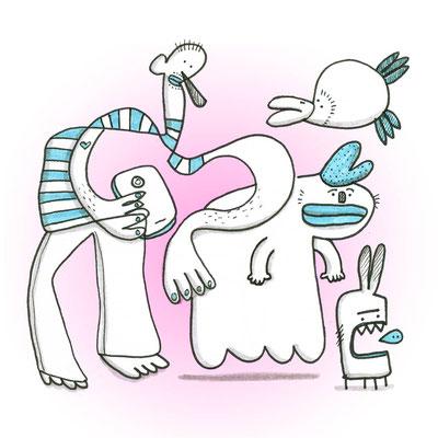 Illustration Vier Freunde, Zeichnung mit Tusche auf Papier und digitaler Farbe von Frank Schulz Art, zeigt Fantasie Figuren mit Smartphone