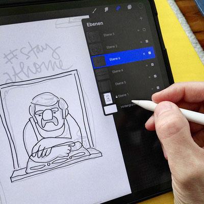 Illustration eines Mannes (Manni!) im Unterhemd, gemütlich am offenen Fenster lehnend - Vorzeichnung in Procreate von Frank Schulz Art