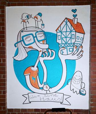 Frau mit Fachwerkhaus auf einem Acryl Wandgemälde von Frank Schulz Art, Berlin.