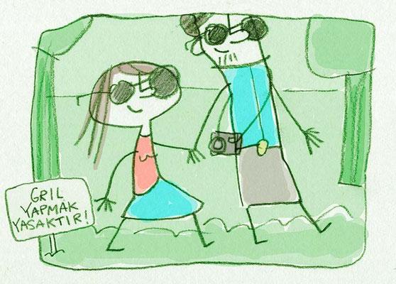 Pärchen spaziert im Park, Digital kolorierte Zeichnung von Frank Schulz Art