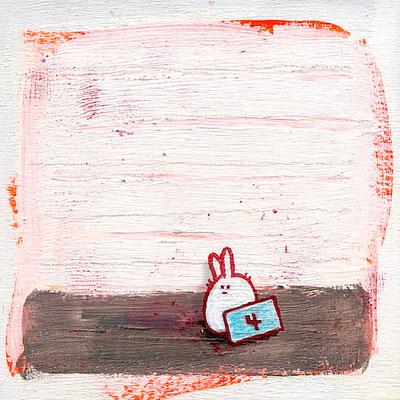 Hase unter Verdacht, Acryl-Illustration auf Holz von Frank Schulz