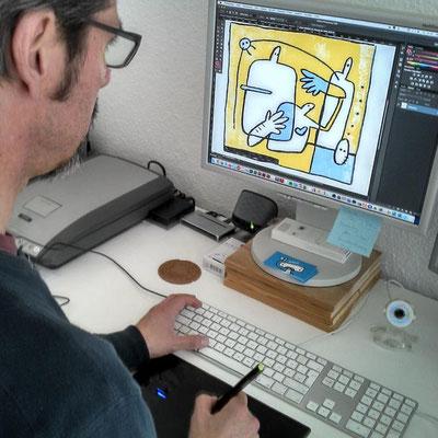 Frank Schulz Art bei der Arbeit, Frank koloriert eine Zeichnung mit Photoshop
