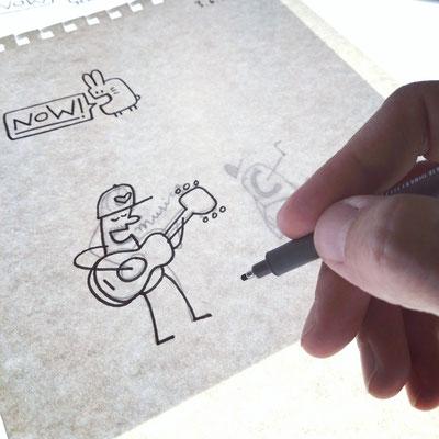 Tuschezeichnung Musica für ein neues T-Shirt Motiv von Frank Schulz Art