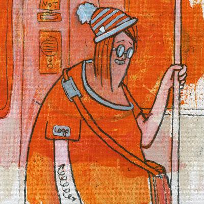 IN DER U8 (Ausschnitt), Junge Dame mit Pudelmütze, Acryl auf Leinwand, 18 x 24 cm © Frank Schulz 2012