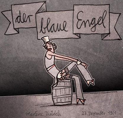 Marlene Dietrich, Digital kolorierte Zeichnung von Frank Schulz Art