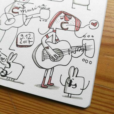 Illustration Liebeslied, Zeichnung mit Tusche auf Papier von Frank Schulz Art, zeigt eine junge Frau mit Gitarre die ein Liebeslied singt