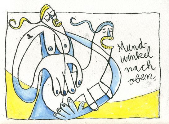 MUNDWINKEL NACH OBEN (Kreaturen auf Gelb), Zeichnung und Aquarell auf Papier von Frank Schulz Art