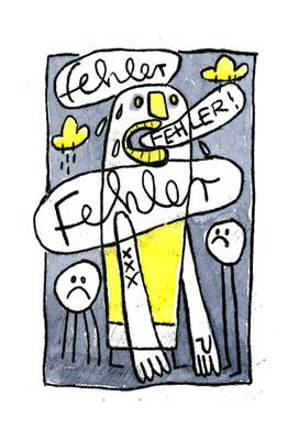 FEHLER (Kreaturen auf Grau), Zeichnung und Aquarell auf Papier von Frank Schulz Art