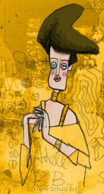 Adele Bloch-Bauer I , Acryl Zeichnung Frau vor Schnittmuster von Frank Schulz Art, Meisterwerk Reloaded nach Gustav Klimt