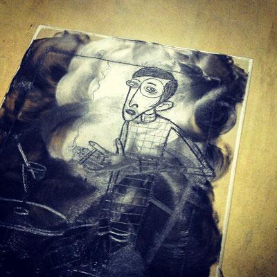 Frank Schulz Art in der Druckwerkstatt, Radierung nach dem Motiv Sylvia von Harden von Otto Dix