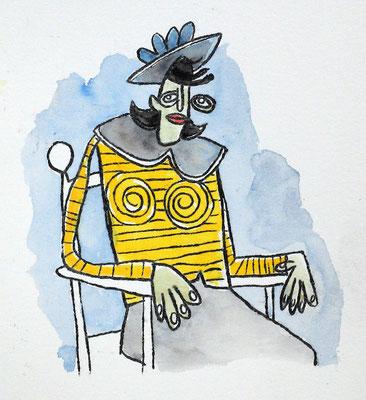 Der gelbe Pullover, Acryl Zeichnung Frau auf Stuhl sitzend von Frank Schulz Art, Meisterwerk Reloaded nach Picasso