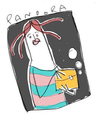 Pandora mit Büchse, Digital kolorierte Zeichnung von Frank Schulz Art