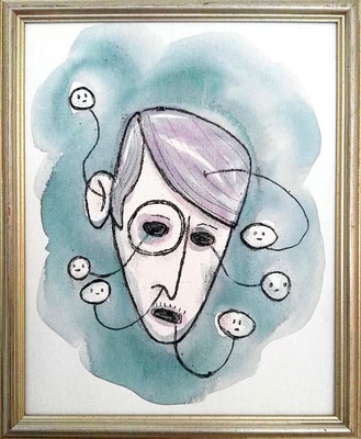 Sylvia von Harden, Acryl Zeichnung Frauenkopf mit Geistern von Frank Schulz Art, Meisterwerk Reloaded nach Otto Dix
