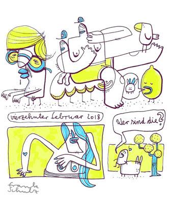 Illustration mit Tusche auf Papier und digitaler Farbe von Frank Schulz zeigt Kreaturen und Tiere als Comic
