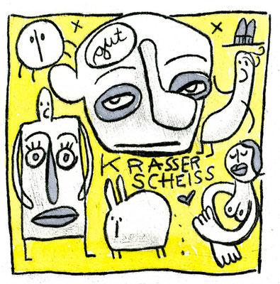 KRASSER SCHEISS (Kreaturen auf Gelb), Zeichnung und Aquarell auf Papier von Frank Schulz Art